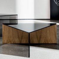 Regolo Triangular Glass and Wood Coffee Table - Klarity ...