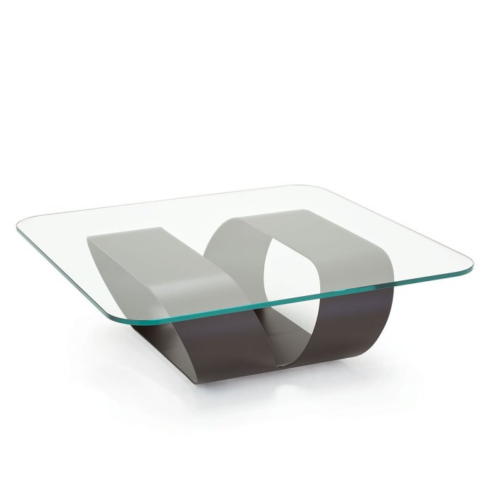 Ring Glass and Metal coffee table by sovet italia