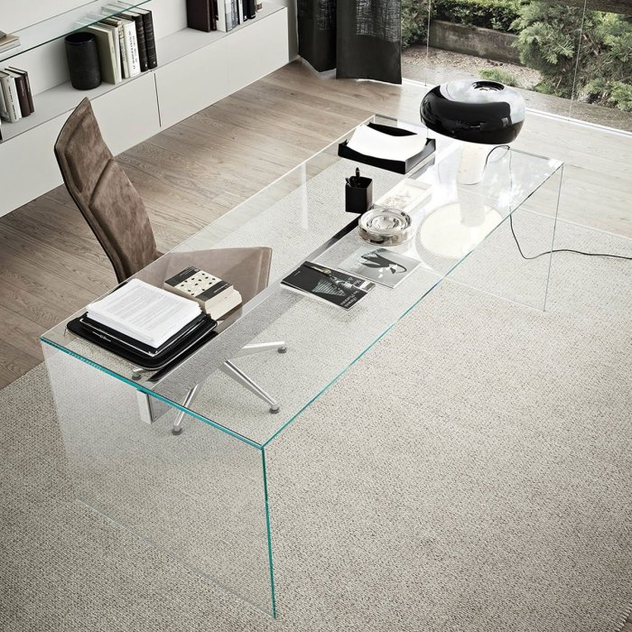 air modern glass desk by Gallotti and Radice