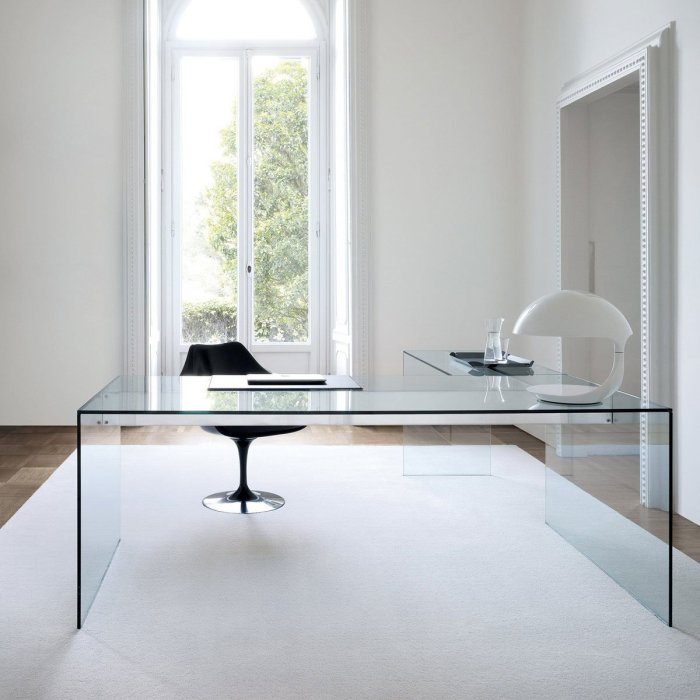 glass desk L shape