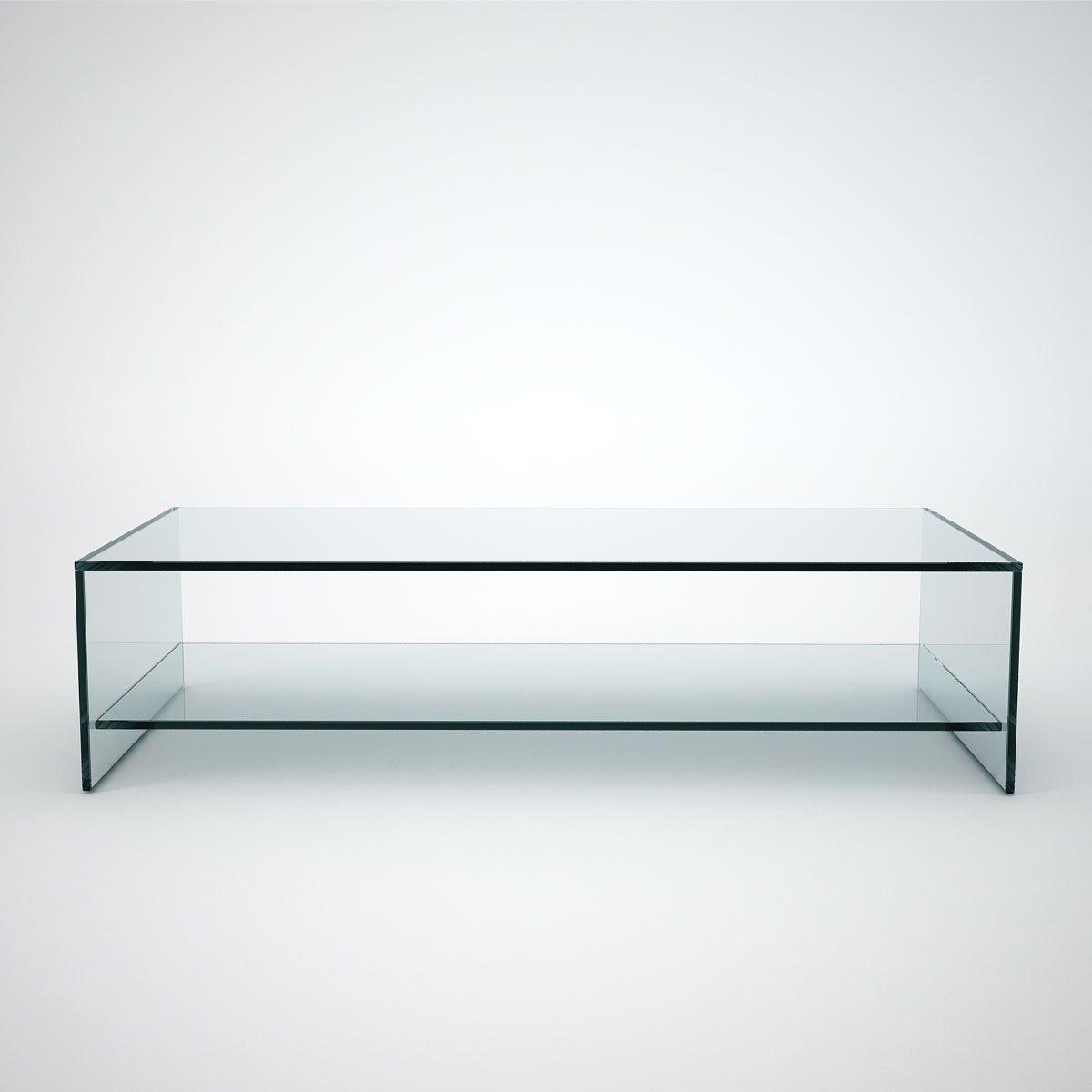 glass coffee table with shelf rectangular