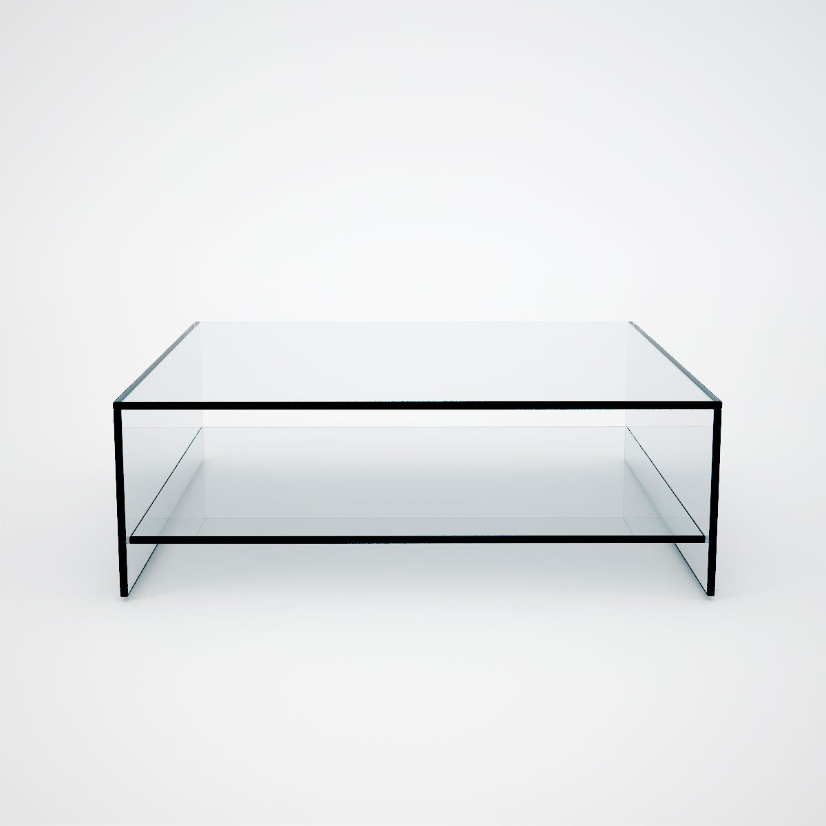 Glass Coffee Table With Shelves Multi Colour Back Tempered Glass