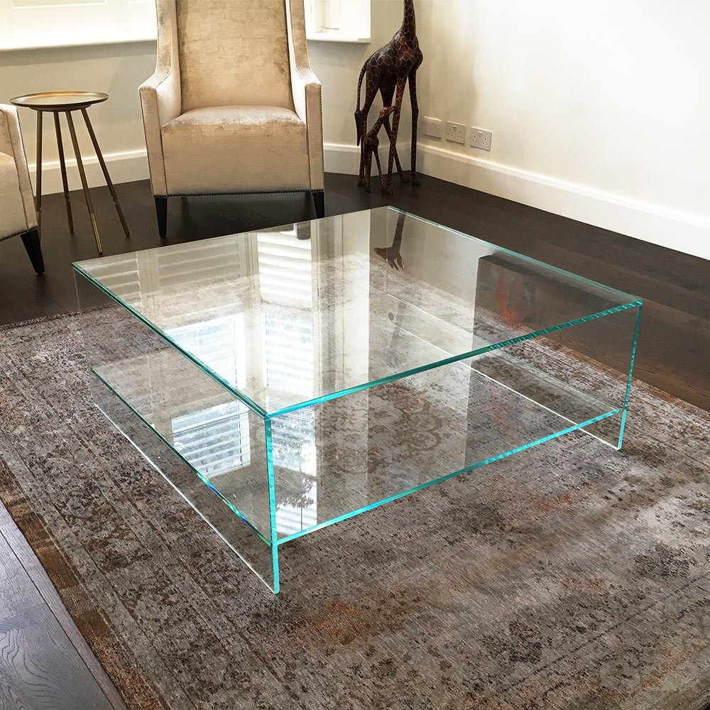 Glass Coffee Table   Square   Judd With Shelf