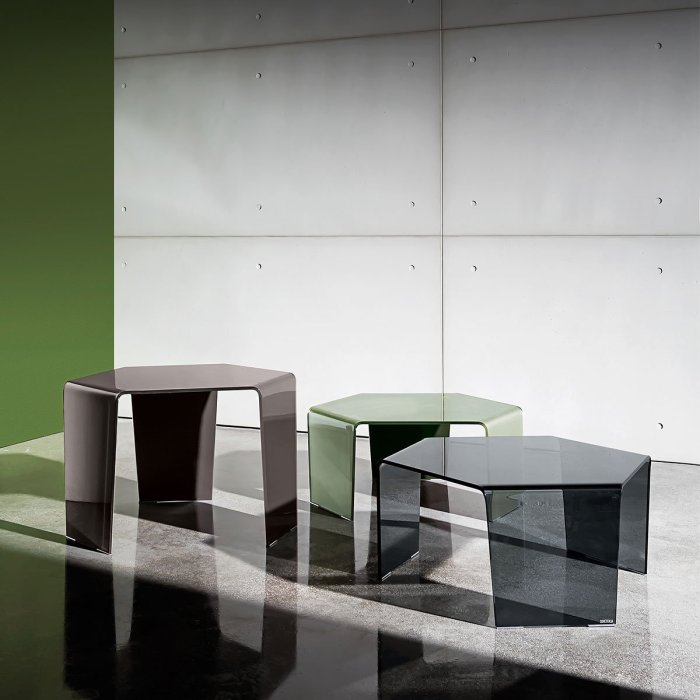 curved glass coffee table 3 feet sovet italia