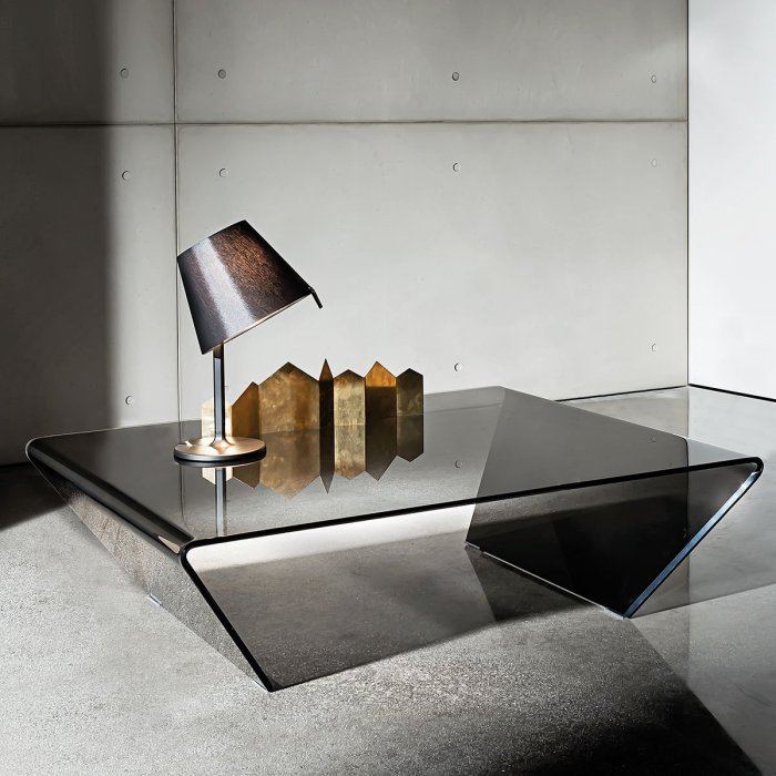 smoked curved glass coffee table