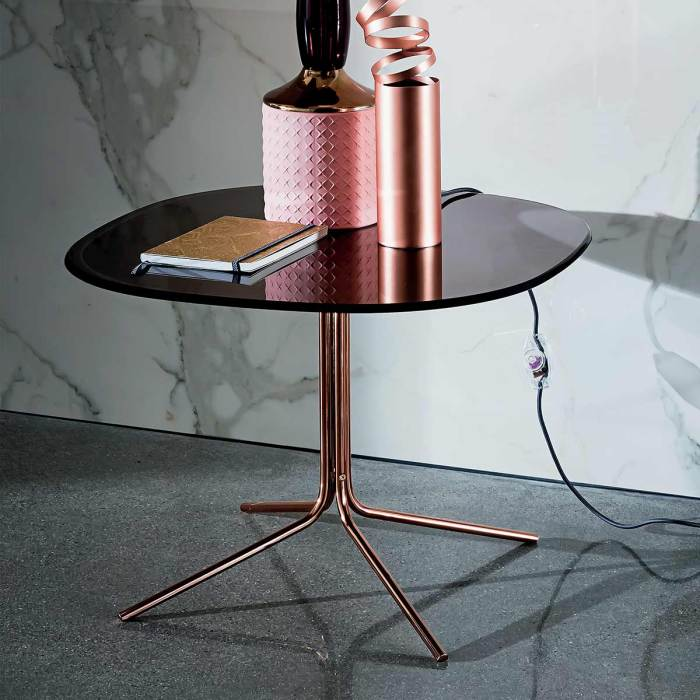 copper and glass coffee table genius