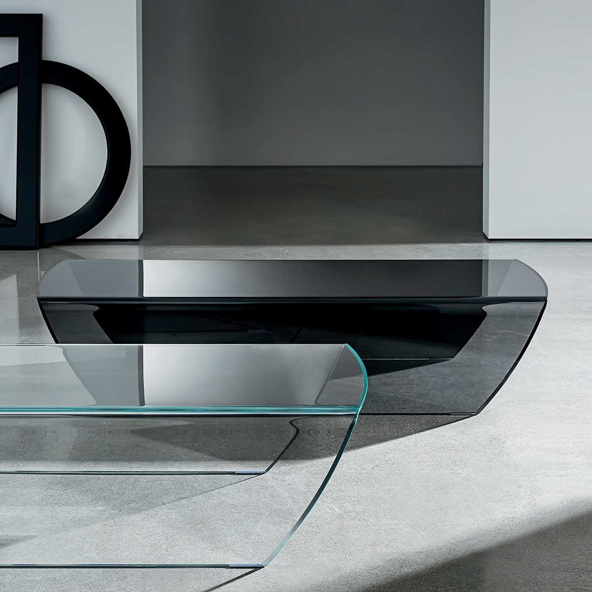 Taky Curved Glass Coffee Table Klarity Glass Furniture