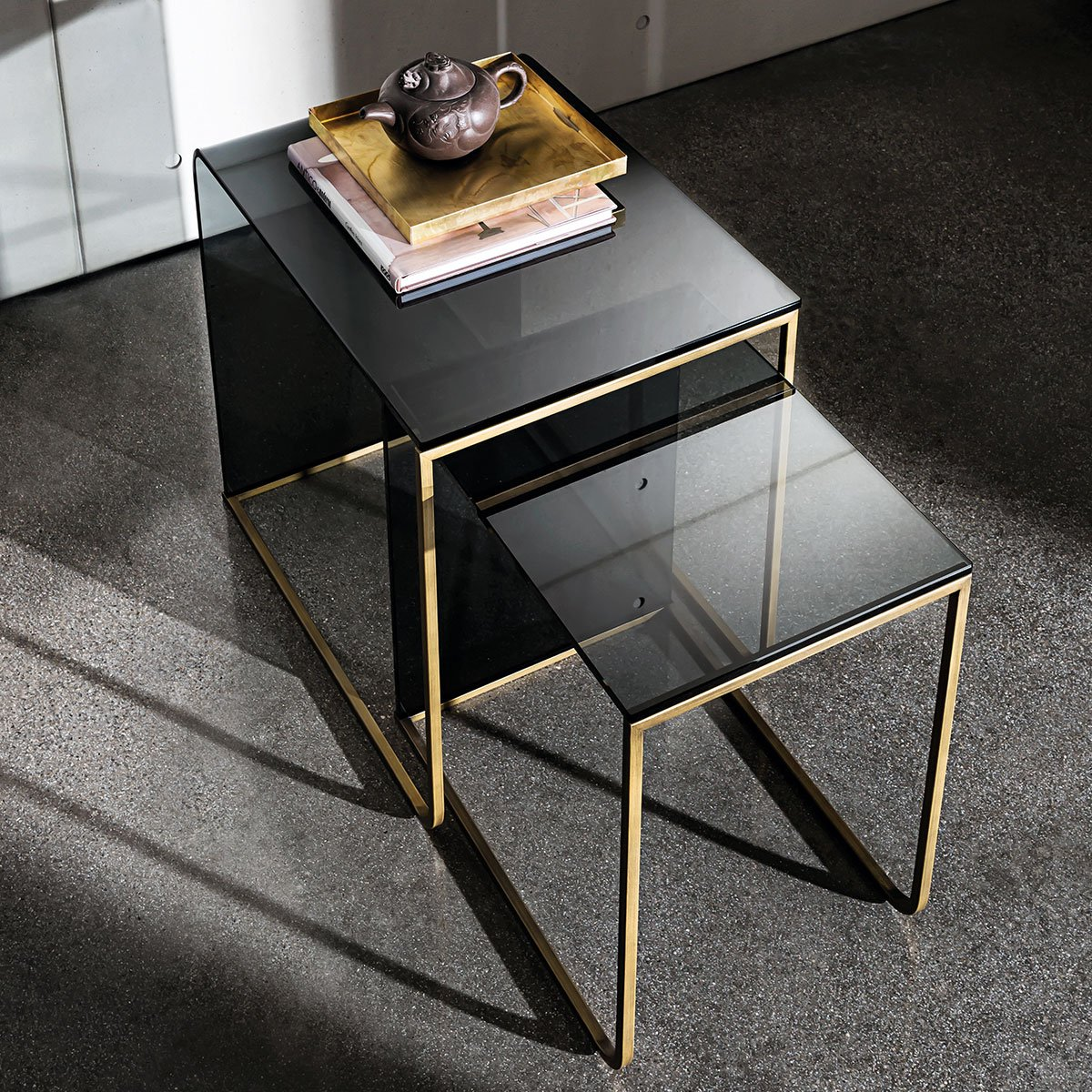 brass and smoked glass coffee table
