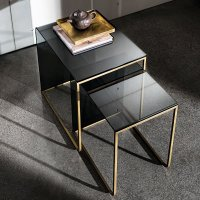 Nido Glass and Metal Coffee Table - Klarity - Glass Furniture