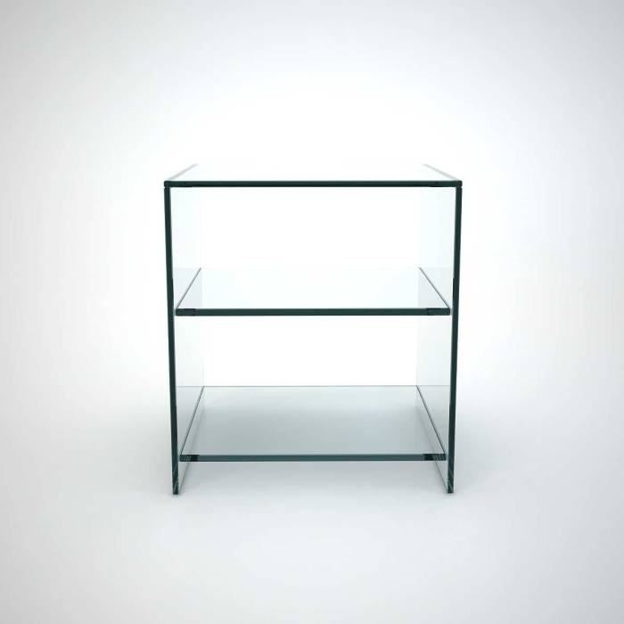 glass side table with shelf for side of sofas