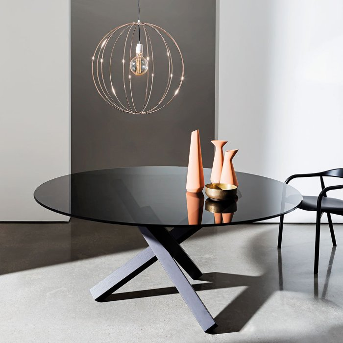 sovet aikido table black glass and black frame