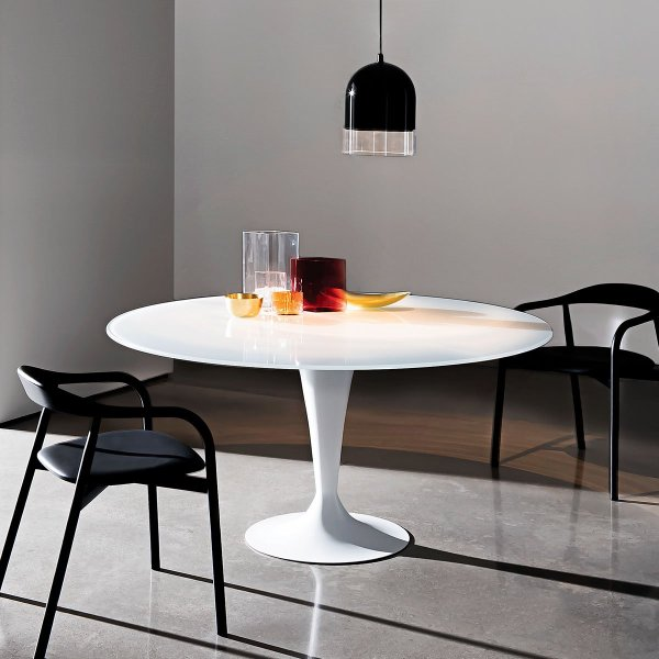 Flute Glass Dining Table with Tulip Base (Round) - Klarity - Glass Furniture
