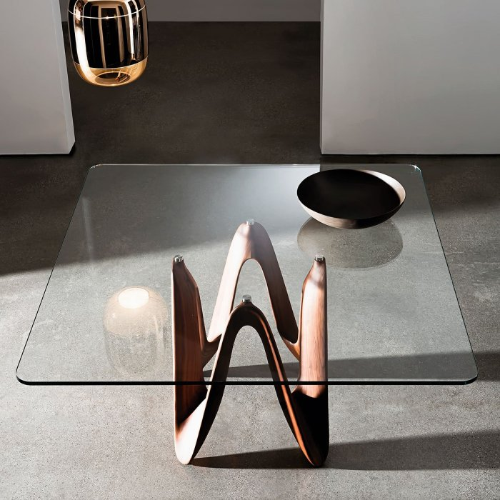 lambda square wood and glass dining table