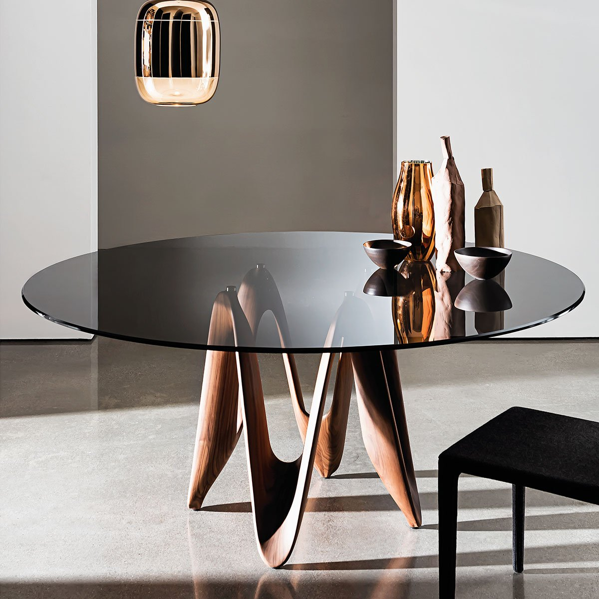 Lambda Table Round Glass Top With Central Base By Sovet