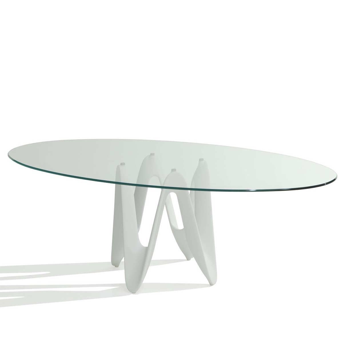 Lambda Oval Glass Dining Table Klarity Glass Furniture