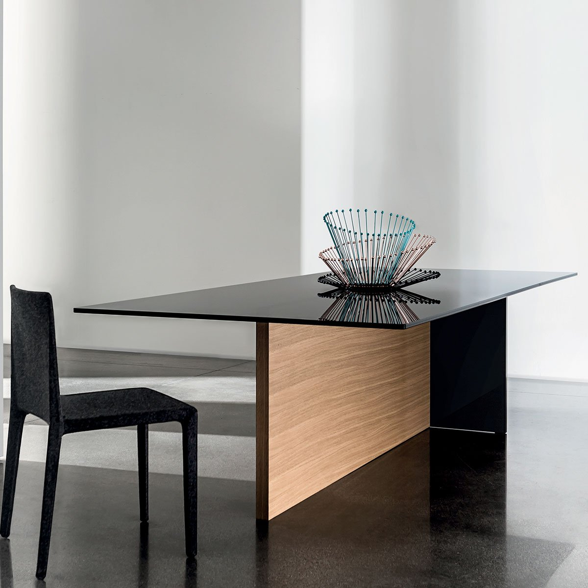 Regolo Glass and Wood Dining Table - Klarity - Glass Furniture