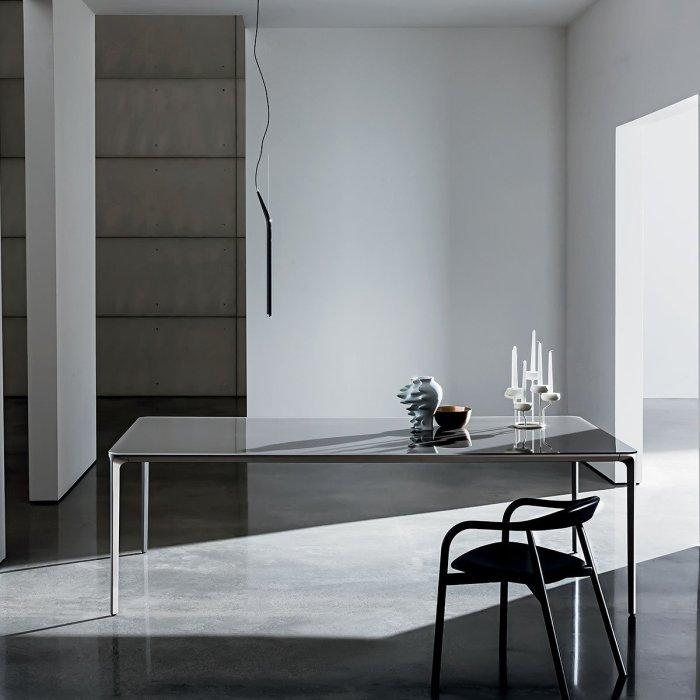 italian glass furniture. Slim Rectangular Metal And Glass Dining Table Italian Furniture