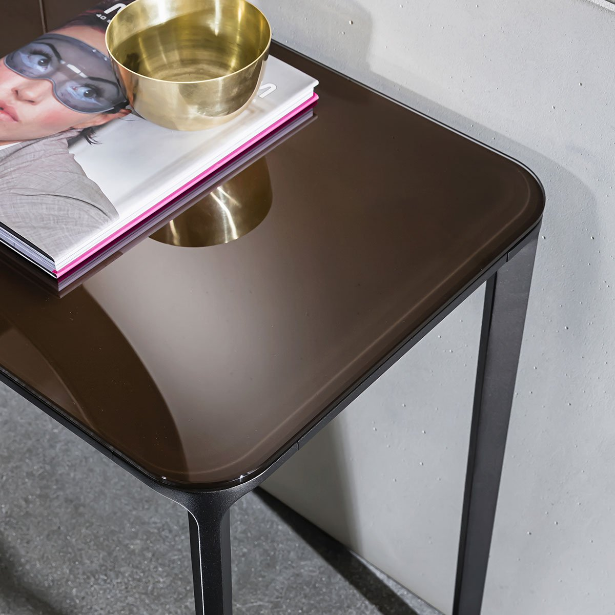 slim hallway table glass