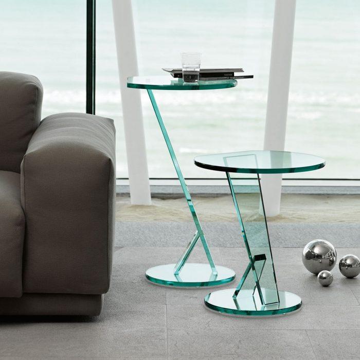 glass side tables klarity