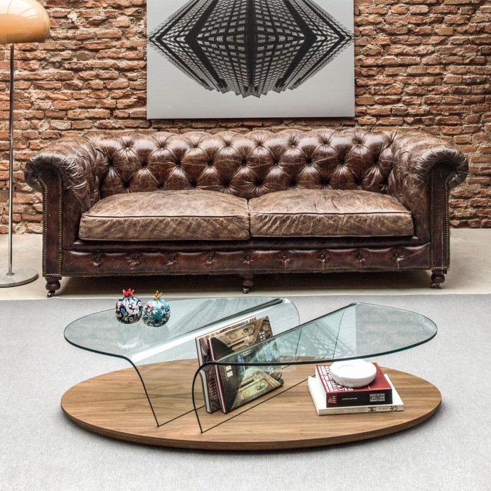 arona wood glass coffee table