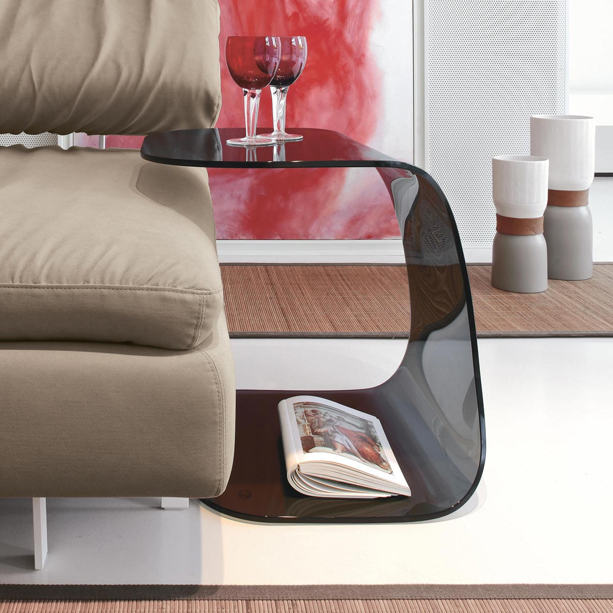 Taky Curved Glass Coffee Table: Beside Curved Glass Table