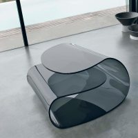 Volup Curved Glass Coffee Table - Klarity - Glass Furniture