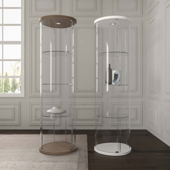 curved glass display unit