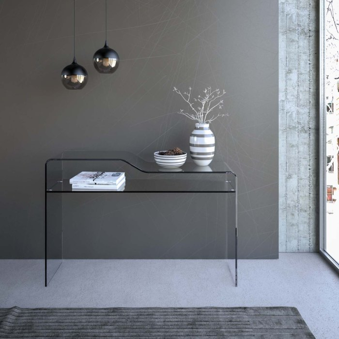 Scalino Glass console table with shelf