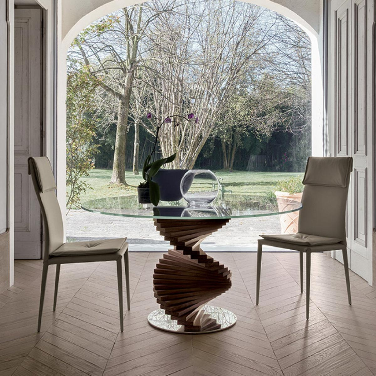 firenze glass top dining table with wooden base klarity glass furniture. Black Bedroom Furniture Sets. Home Design Ideas