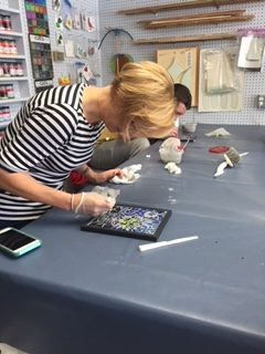 A view inside a Stained Glass Class