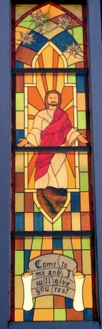 Window installation at UCC church, Tillamook, Oregon