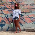 Distressed Denim and Blue OTS Tunic   Glass of Glam