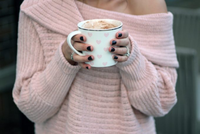 Pink over the shoulder Shein Sweater | Glass of Glam