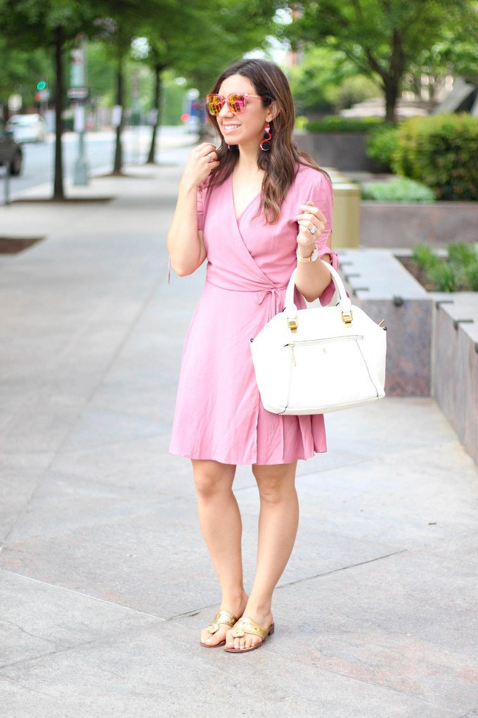 Lifestyle Blogger Roxanne of Glass of Glam in a Pink wrap dress from Wild Blue Denim Rue 21