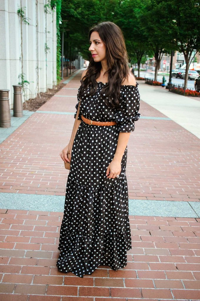 lifestyle blogger Roxanne of Glass of Glam wearing a Shein Maxi dress and Lux Beauty Club hair extensions