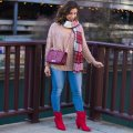 lifestyle blogger Roxanne of Glass of Glam wearing a Gray Monroe sweater, plaid scarf, Rebecca Minkoff bag, Madewell denim, and red slouch boots