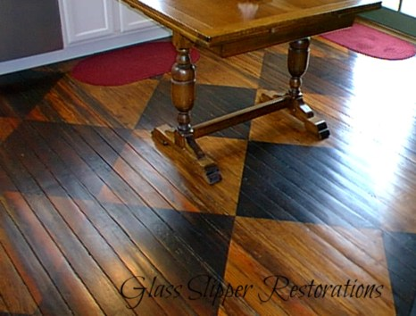 Hand-stained checkerboard long-leaf pine flooring