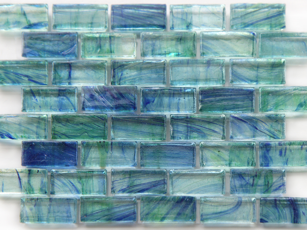 mirabelle glass tile aqua blue green brick pattern