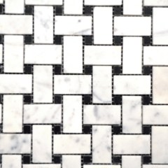 Cararra White Small Basketweave 1