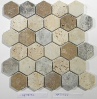 Madison Hexagon Pattern In Multi Color Tumbled Travertine ...