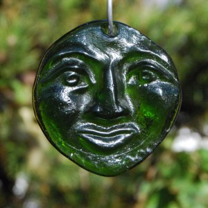 Recycled Green bottle glass Moon suncatcher