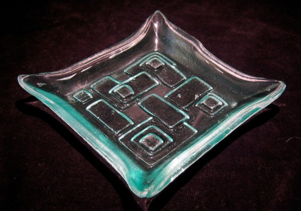 Small Stacked Square Recycled Glass