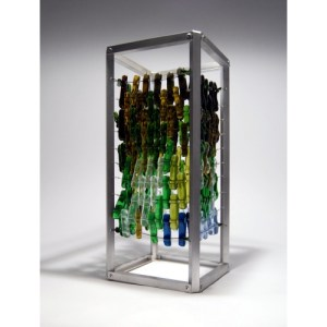 Recycled bottle glass an aluminum sculpture