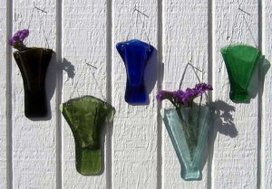 Recycled Wine Bottle Wall Vases