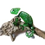 fused glass chameleon