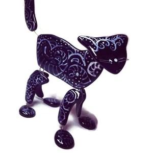 Fused black glass cat