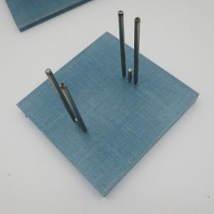 light blue linen stand detail