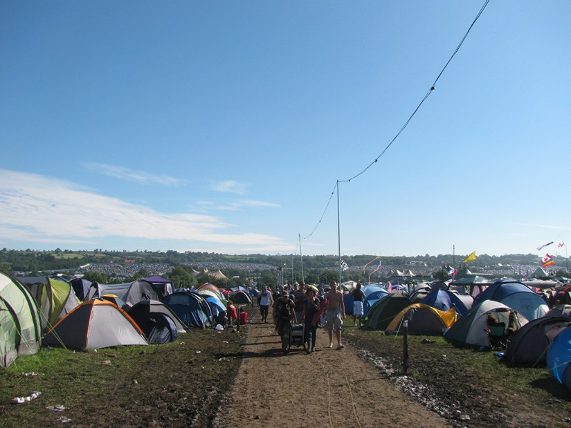 Arriving at Glastonbury