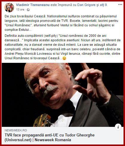 Antiromanism Tismaneanu - FAKE NEWS - Tudor Gheorghe linșat mediatic pentru un mesaj anti-Bruxelles