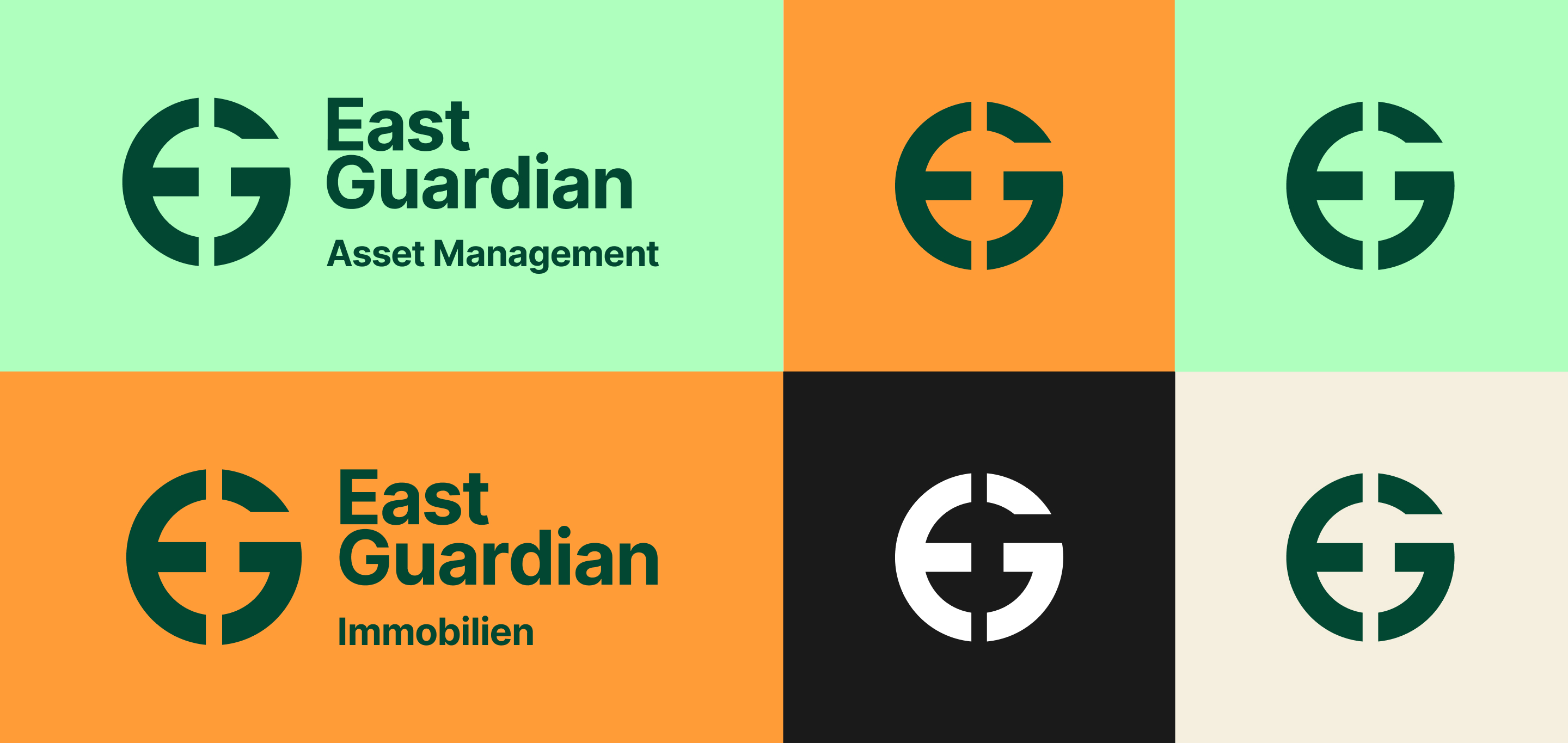The logos for East Guardian Asset Management and East Guardian Immobilien share the same symbol and font but using different brand colors.